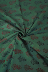 Brown and Black in Green Bagh Print Cotton Fabric