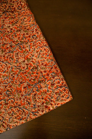 Orange with Maroon Floral Block Printed Kalamkari Fabric