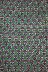Green with Purple Small Floral Sanganeri Cotton Fabric-0.6 m