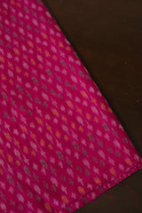 Rose with Green and Yellow Ikat Silk Cotton Fabric-2m