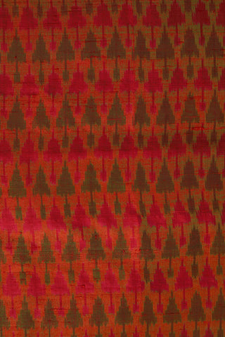 Arrows in Double Shade Orange Ikat Raw Silk Fabric-1.4m