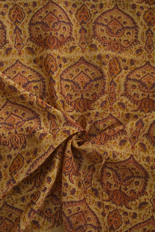 Creme with Purple  Sanganeri Chanderi Fabric - 0.85 m