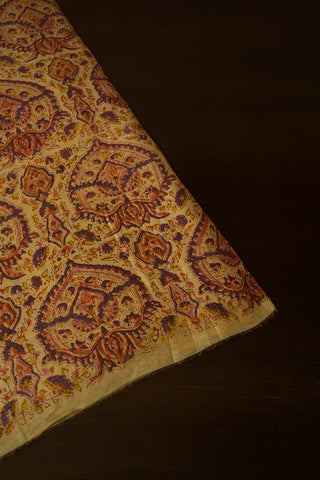 Creme with Purple  Sanganeri Chanderi Fabric - 1.7m