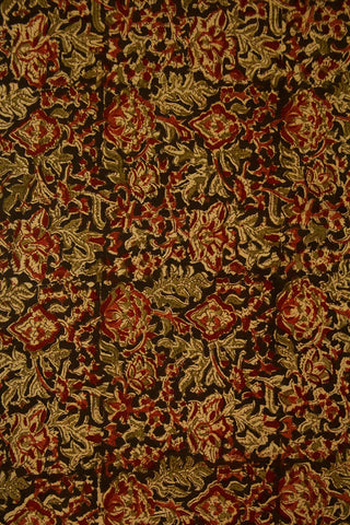 Green with Maroon Floral Block Printed Kalamkari Fabric