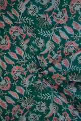 Blueish Green with Peach Floral Sanganeri Cotton Fabric
