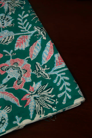 Blueish Green with Peach Floral Sanganeri Cotton Fabric-0.75 m
