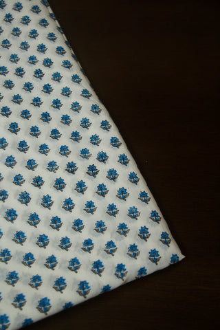 White with Blue Small Floral Sanganeri Cotton Fabric - 2m