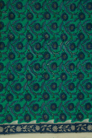 Blueish Green with Indigo Flower Sanganeri Mul Cotton Fabric