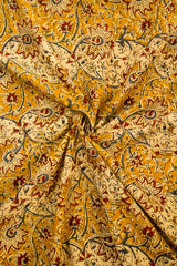 Beige with Fenugreek Floral Block Printed Kalamkari Fabric