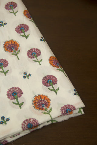 Colour Daisy Flowers Sanganeri Block Printed Cotton Fabric
