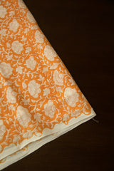 Light Beige Flowers Sanganeri Cotton Fabric