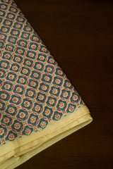 Light Blue with Peach Checks Sanganeri Cotton Fabric