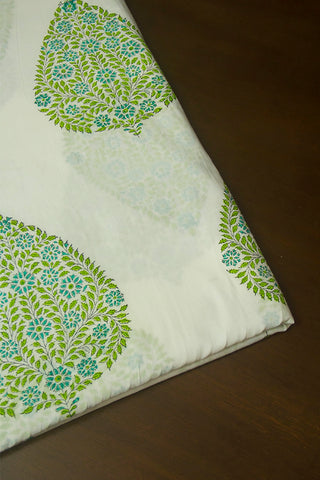White with Light Green Big Leaves Sanganeri Cotton Fabric