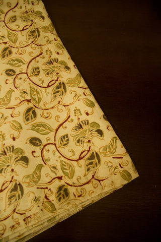 Beige with Olive Green Handwoven Hand Block Printed Kalamkari Fabric