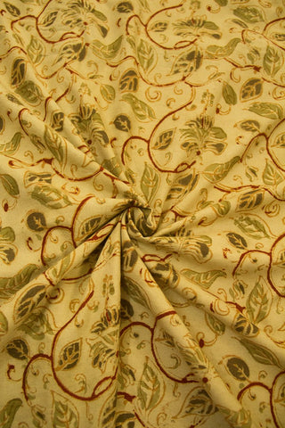 Beige with Olive Green Handwoven Hand Block Printed Kalamkari Fabric -0.9m