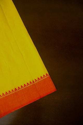 Yellow with Orange Small Temple Border Handwoven Cotton Fabric