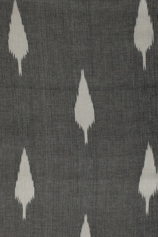 White Leaf in Grey Handwoven Ikat Fabric