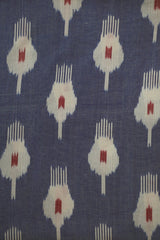 Double Shade Blue with Red Handwoven Ikat Fabric