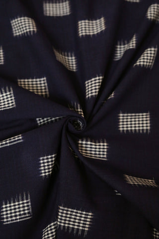 Dark Blue with White Square Checks Handwoven Ikat Fabric