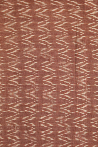 Double Shade Brown Zig Zag Handwoven Ikat Fabric-1.4m