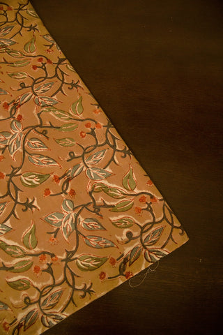 Green Leaf Floral Block Printed Kalamkari Fabric