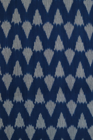 Blue with Grey Triangle Handwoven Ikat Cotton Fabric