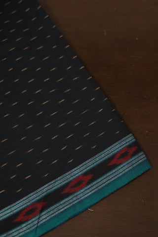 Black with Blue Border Handwoven Ikat Cotton Fabric
