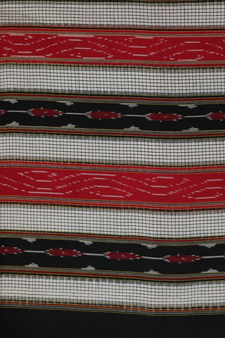 Black with Red Handwoven Double Ikat Cotton Fabric