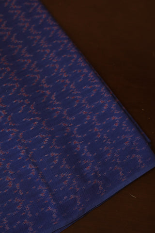 Subdued blue with Rust Red Mercerized Ikat Cotton Fabric