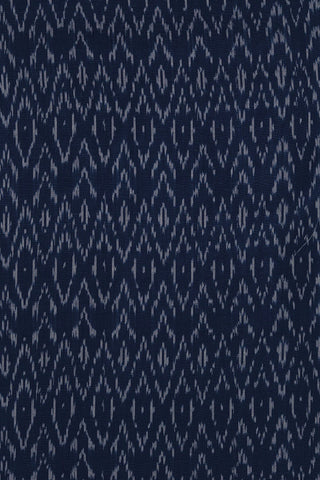 Indigo Blue with Off White Handwoven Ikat Cotton Fabric