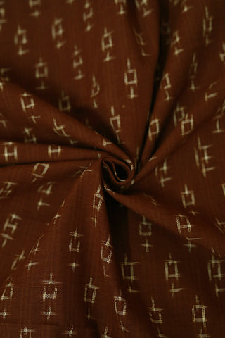 Brown Handwoven Double Ikat Cotton Fabric-2.4 m