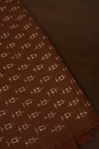 Brown Handwoven Double Ikat Cotton Fabric
