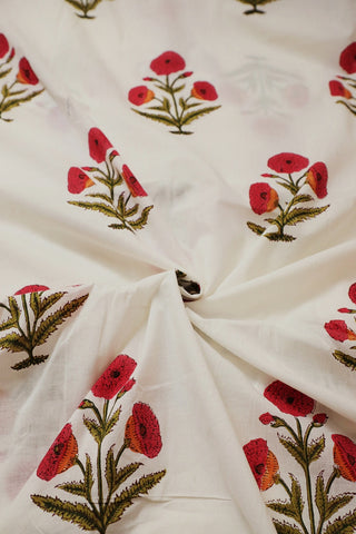 White with Pink Block Printed Sanganeri Cotton Fabric