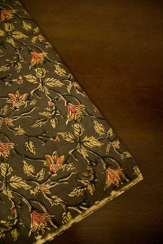 Greyish Green with Peach Flower Handwoven Hand Block Printed Kalamkari Fabric