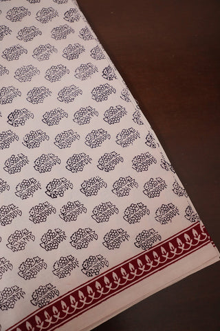 Black Floral in Off White Bagh Print Cotton Fabric-0.7 m