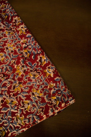 Maroon with Indigo Floral Block Printed Kalamkari Fabric