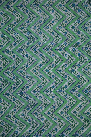 Subdued Green Zig Zag Sanganeri Cotton Fabric-1.4 m