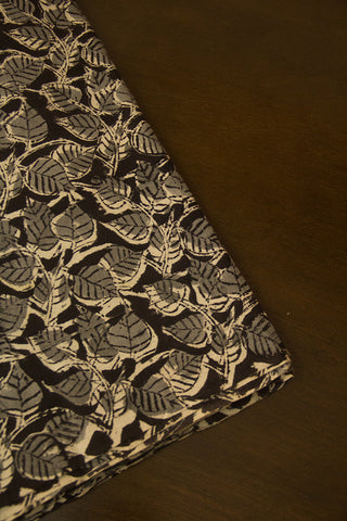 Black with Grey Peepal Leaves Hand Block Printed Kalamkari Fabric