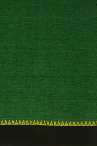 Dark Green with Black  Zari Temple Border Handwoven Cotton Fabric