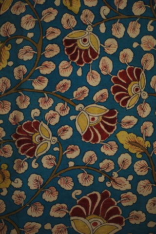 Sky Blue with Maroon and Yellow Hand Painted Kalamkari Fabric-1 m