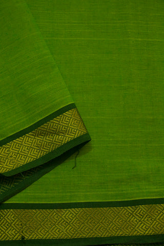 Light Green with Mangalagiri Zari Border Handwoven Cotton Fabric