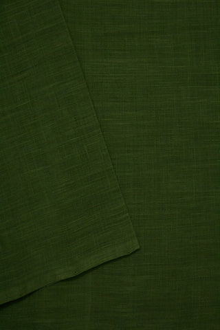 Subdued Green Handwoven Cotton Slub Fabric