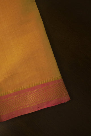 Beige with Pink Mangalagiri Zari Border Handwoven Cotton Fabric