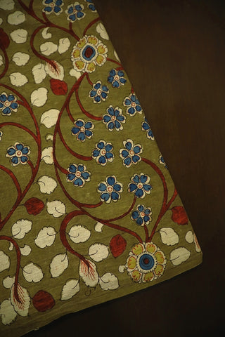 Olive Green with Blue and Off White Hand Painted Kalamkari Fabric