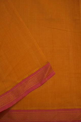 Beige with Pink Mangalagiri Zari Border Handwoven Cotton Fabric - 2.3m