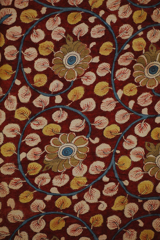 Maroon with Olive Green Floral Hand Painted Kalamkari Fabric