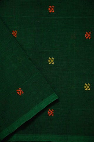 Dark Green Handwoven Butta Cotton Fabric