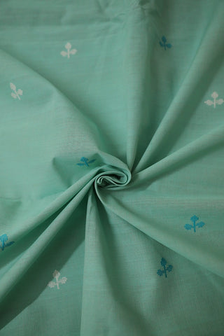 Light Acqua Green with white Butta Handwoven Cotton Fabric