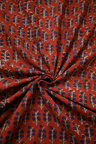 Maroon with Indigo Bagru Block Printed Cotton Fabric