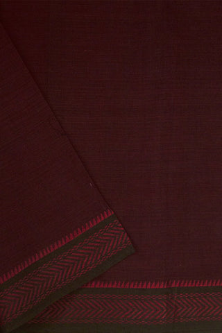 Maroon with Black Border Handwoven Cotton Fabric